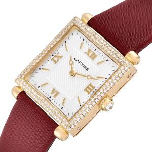 Cartier Tank Obus 18k Yellow Gold Diamond Ladies Watch WB800351 Box Papers
