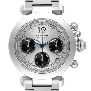 Cartier Pasha Chronograph Steel Silver Dial Unisex Watch W31048M7