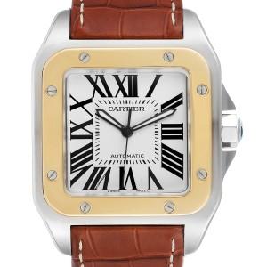 Cartier Santos 100 Steel Yellow Gold 38mm Silver Dial Mens Watch W20072X7