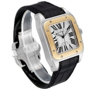 Cartier Santos 100 Steel Yellow Gold 38mm Mens Watch W20072X7