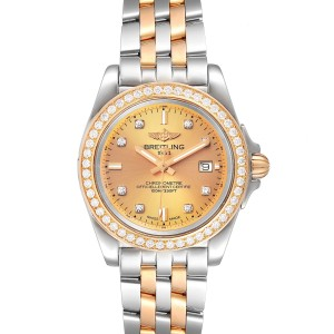 Breitling Galactic 32 Steel Rose Gold Diamond Womens Watch C71330 Box Papers