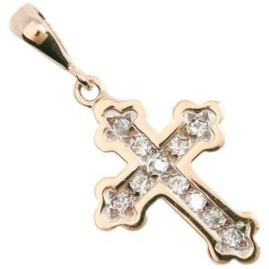 14k Pink Gold and Diamond Cross Pendant