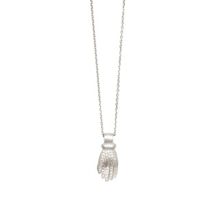 White Diamond Pave Hand Necklace