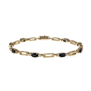 14K Yellow Gold with Sapphire & Diamond Hinged Link Bracelet
