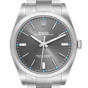 Rolex Oyster Perpetual 39 Rhodium Dial Steel Mens Watch 114300 Box