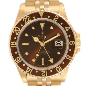 Rolex GMT Master Rootbeer 18k Yellow Gold Mens Vintage Watch 16758