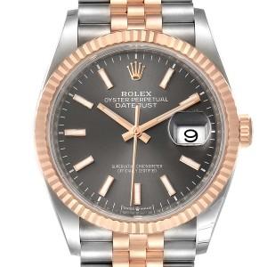 Rolex Datejust 36 Rhodium Dial Steel EverRose Gold Watch 126231 Box Card