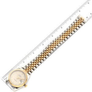 Rolex Datejust Steel Yellow Gold Pyramid Roman Dial Mens Watch 116233