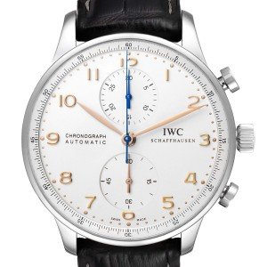 IWC Portuguese Chrono Automatic Silver Dial Steel Mens Watch IW371604