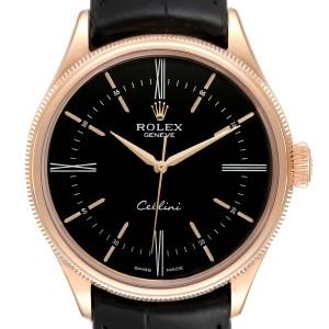 Rolex Cellini Time 18K EveRose Gold Black Dial Mens Watch 50505