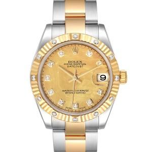 Rolex Datejust Midsize Yellow Gold Steel GoldDust MOP Diamond Watch 178313