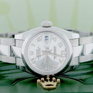 Rolex Datejust Ladies Silver Concentric Arabic Dial 26MM Domed Bezel Automatic Stainless Steel Oyster Watch 179160