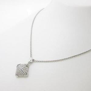 Bulgari 750 White Gold Piramide Necklace