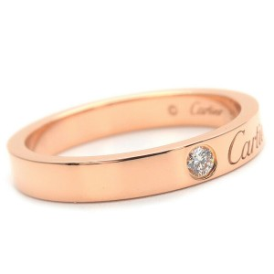 Cartier 1P Diamond 18k Rose Gold Engraved Ring