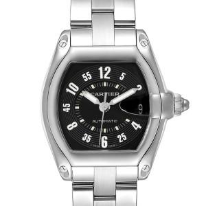 Cartier Roadster Black Arabic Dial Steel Mens Watch W62004V3