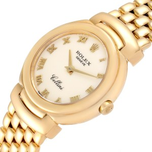 Rolex Cellini 26mm Ivory Roman Dial Yellow Gold Ladies Watch 6621