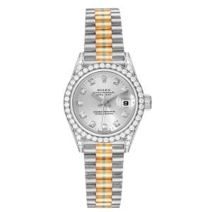 Rolex President Tridor White Yellow Rose Gold Diamond Ladies Watch 69159