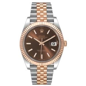 Rolex Datejust 41 Steel Everose Gold Chocolate Dial Watch 126331 Box Card