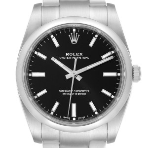 Rolex Oyster Perpetual Black Dial Steel Mens Watch 114200 Box Card