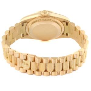 Rolex President Day-Date Yellow Gold Bark Diamond Dial Mens Watch