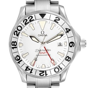 Omega Seamaster 300M GMT Great White Wave Dial Watch 2538.20.00