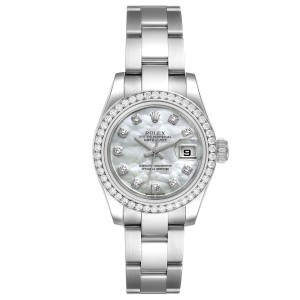 Rolex Datejust Steel White Gold MOP Diamond Ladies Watch 179384 Unworn