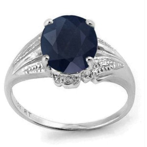 Sterling Silver Black Sapphire & Diamond Ring Size 7