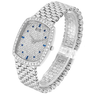 Piaget White Gold Pave Diamond Sapphire Dial Vintage Cocktail Watch 9741