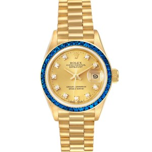 Rolex President Datejust Yellow Gold Diamond Sapphire Ladies Watch 69118