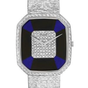 Piaget White Gold Onyx Lapis Lazuri Dial Diamond Vintage Cocktail Watch 9795