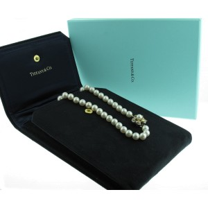 Tiffany & Co. Pearl Yellow and White Diamond Clasp Necklace