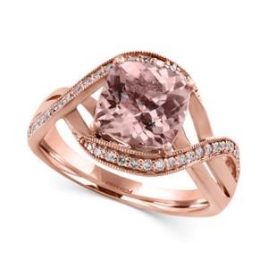 Morganite and Diamond Swirl Ring in 14k Rose Gold
