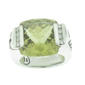 David Yurman Sterling Silver Diamond and Citrine Deco Albion Ring