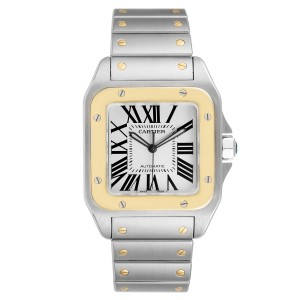 Cartier Santos 100 Steel Yellow Gold 38mm Mens Watch W200728G Box Papers