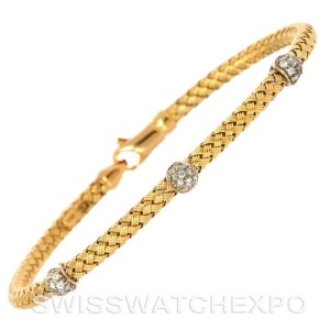 14k Yellow Gold 0.24 Ct. Diamond Basket Weave Bracelet