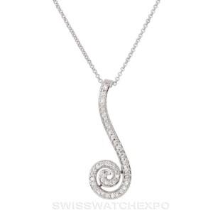 Seductive 14k White Gold 0.40 Ct. Diamond Spiral Pendant