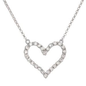 Sparkling Heart 14k White Gold Diamond Pendant