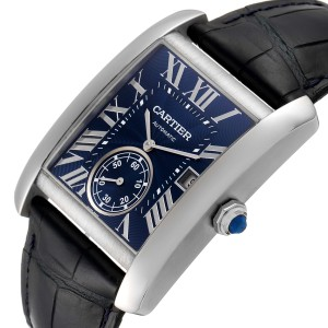 Cartier Tank MC Blue Dial Automatic Steel Mens Watch WSTA0010 Box Papers