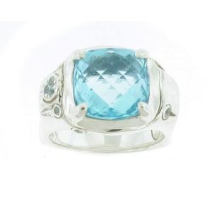 John Hardy 925 Sterling Silver Blue Topaz Ring