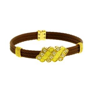 Philippe Charriol Diamond 18K Yellow Gold & Bronze Steel Bracelet