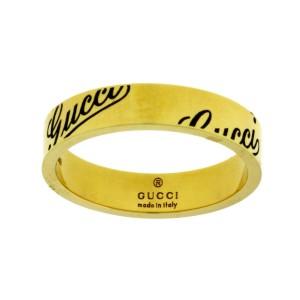Gucci 18K Yellow Gold Logo Band Ring