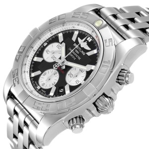 Breitling Chronomat 01 Black Dial Steel Mens Watch AB0110 Box Papers