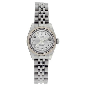 Rolex Datejust 179174 Stainless Steel String Silver Diamond Dial 18K Bezel Womens Watch