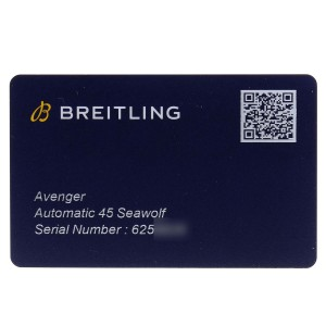 Breitling Avenger 45 Seawolf Yellow Dial Mens Watch A17319 Box Card