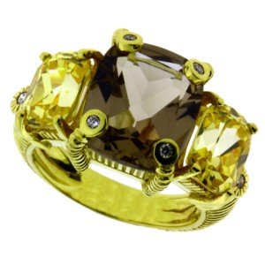 Judith Ripka 18K Yellow Gold with Canary Smoky Crystal and 0.05ctw. Diamond Ring Size 6