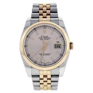 Rolex Datejust 116201 Jubilee Stainless Steel & 18K Rose Gold Pink Stick Gold Bezel Watch