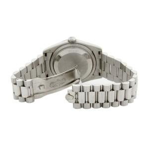 Rolex 118206 President 18K White Gold Silver Diamond Mens Watch