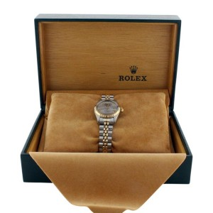 Rolex Datejust 6917 Stainless Steel & Gold Silver Roman Dial 18K Gold Bezel Womens Watch