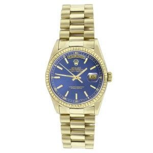 Rolex President 18038 Solid 18K Gold Blue Stick Dial Quickset Mens Watch