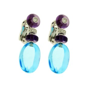 Bulgari 18k White Gold Diamond & Blue Topaz Earrings